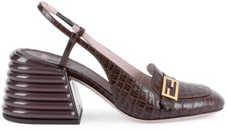 Fendi Croc-Embossed Leather Slingback Pumps