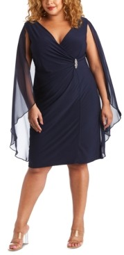 R & M Richards Plus Size Embellished Chiffon-Cape Dress