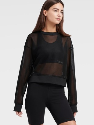 DKNY Cropped Mesh Pullover