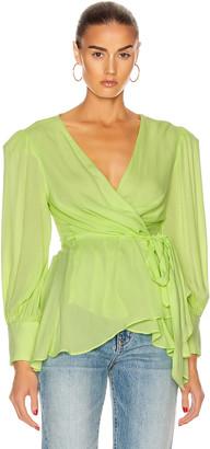 PatBO Neon Wrap Top in Lime | FWRD