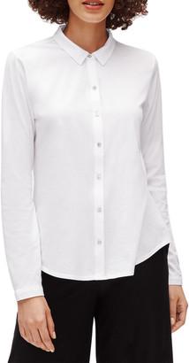 Eileen Fisher Plus Size Organic Cotton Jersey Collared Shirt