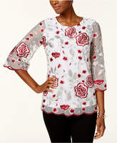 Charter Club Scalloped Embroidered Blouse, Created for Macy's