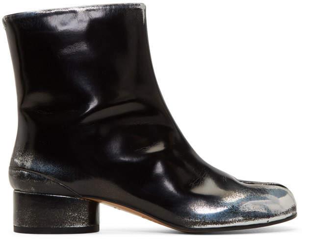 Maison Margiela Black and Silver Spray Mid Heel Tabi Boots