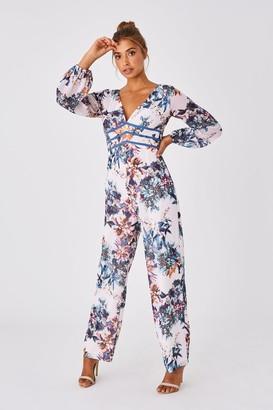 Little Mistress Kimberly Floral-Print Plunge Jumpsuit