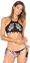 Pilyq Embroidered Tassel Bikini Top in Black. - size L (also in M,S)