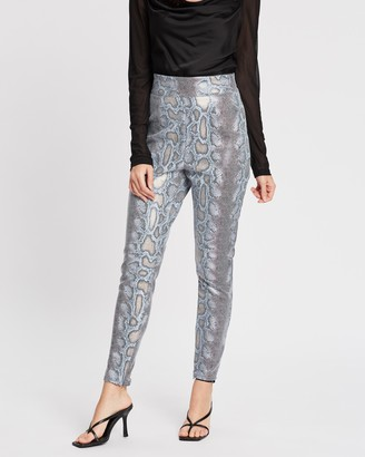 Missguided PU Snake Tapered Trousers