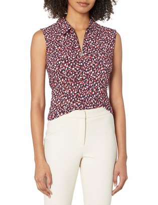 Tommy Hilfiger Women's Ditsy Floral Collared Logo Zip Sleeveless Top