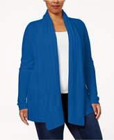Karen Scott Plus Size Luxsoft Cable-Knit Open-Front Cardigan, Created for Macy's
