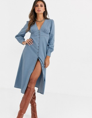 Asos Design DESIGN soft denim corset waist midi dress-Blue