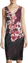 Jax Lace-Trim Floral-Print Sheath Dress