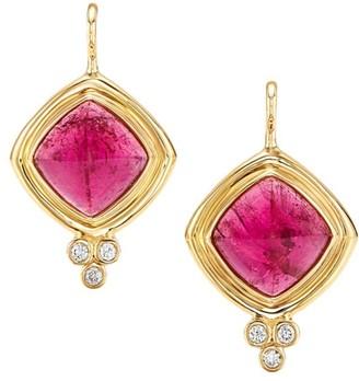 Temple St. Clair Classic Collina 18K Yellow Gold, Rubellite & Diamond Drop Earrings