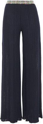Missoni Jacquard-trimmed Ribbed-knit Wide-leg Pants