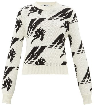 MSGM Crew-neck Logo-intarsia Wool-blend Sweater - Womens - White Black