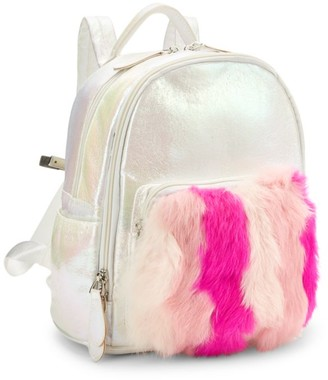 Bari Lynn Mini Fur-Trim Backpack