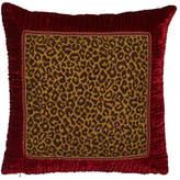 Dian Austin Couture Home Bohemian Rhapsody Leopard European Sham with Ruched Velvet Border