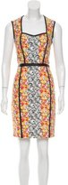 Yigal Azrouel Leather-Trimmed Floral Print Dress