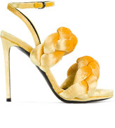 Marco De Vincenzo Yellow braided ankle strap sandals - women - Leather/Velvet - 35.5