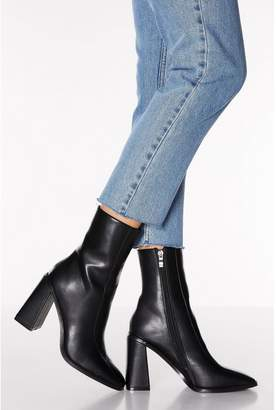 Quiz Black Square Toe Flare Heel Ankle Boots