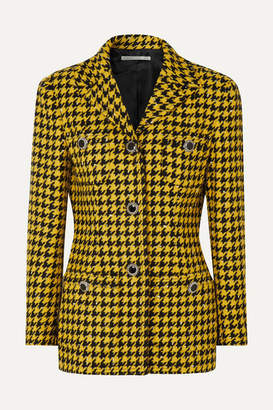 Alessandra Rich Houndstooth Wool-blend Tweed Jacket - Yellow
