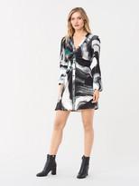 Diane von Furstenberg Calico Crepe Mini Dress