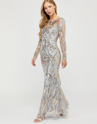 Under Armour Lily Sequin Fishtail Maxi Dress Silver