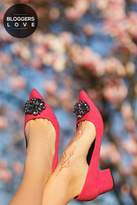 Little Mistress Footwear Ananke Pink Brooch Mid Court Shoes