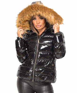Lexi Fashion Ladies Womens Wet Look Shiny Jacket Vinyl PVC PU Faux Leather Puffer Bubble Quilted Padded Faux Chunky Fur Hooded Winter Warm Parka Thick Coat Size 16 Black