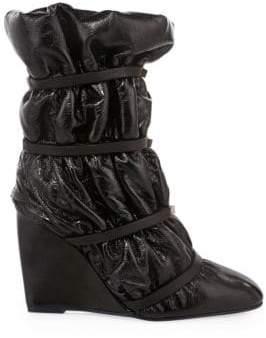 Stuart Weitzman Women's Duvet Studded Leather Wedge Boots - Black - Size 7