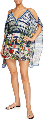 Camilla Cold-Shoulder Printed Romper w/ Draped Sleeves