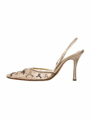 Rene Caovilla Printed Semi-Pointed Toes Slingback Pumps Gold