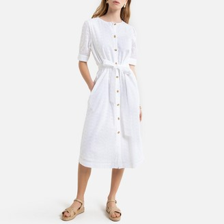 La Redoute Collections Cotton Midi Shirt Dress in Broderie Anglaise with Short Sleeves