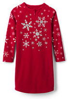 Classic Girls Fleece Raglan Sleeve Graphic Gown-Large Snowflakes