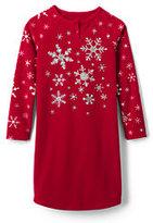 Lands' End Toddler Girls Fleece Raglan Sleeve Graphic Gown-Evermint Multi Stripe