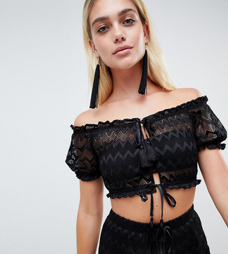 Pool' And Co Exclusive zig zag mesh pool party crop top