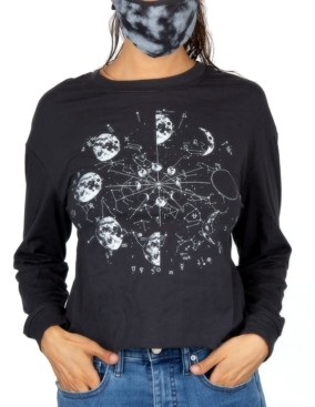 Rebellious One Juniors' Graphic-Print Long-Sleeve Cotton T-Shirt & Mask