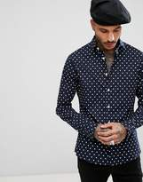 Asos Skinny Polka Dot Shirt In Navy
