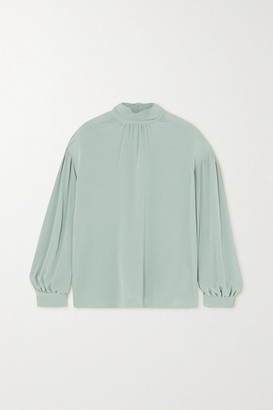 Vince Gathered Silk-crepe Blouse - Gray green