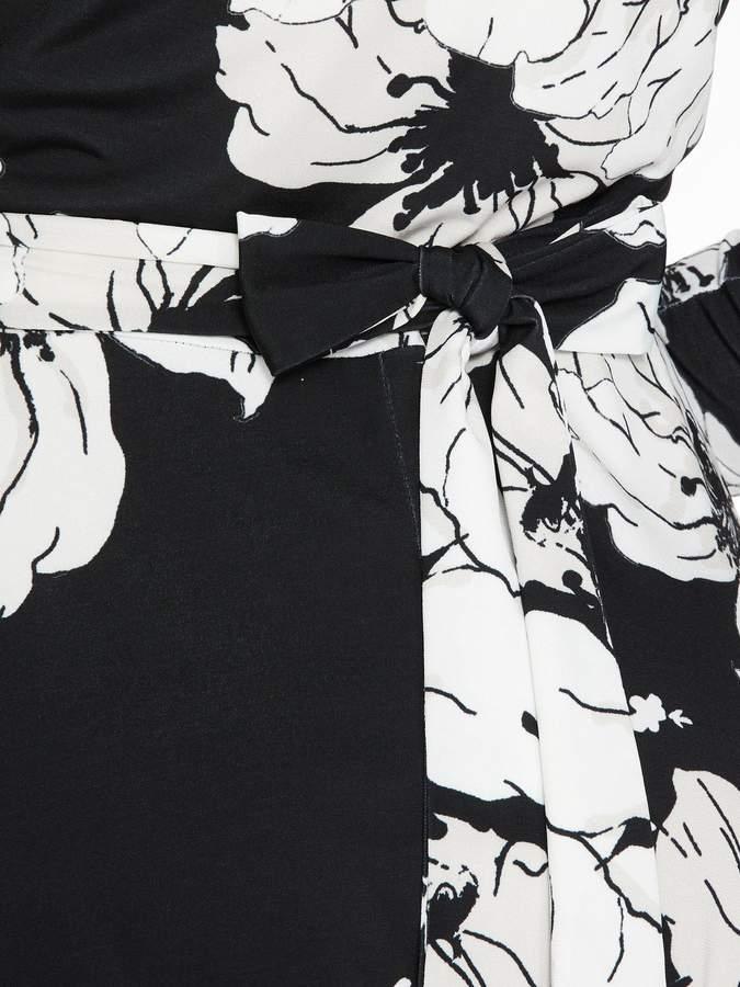 Quiz Floral Wrap Hanky Hem Dress - Black/Cream/Stone