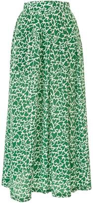 Être Cécile Heart Camouflage Print Silk Skirt