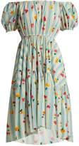Caroline Constas Striped floral-print cotton-blend dress