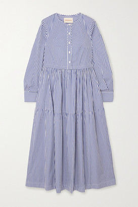 &Daughter Vivian Tiered Striped Cotton-poplin Midi Dress - Blue