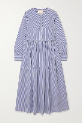 &Daughter Vivian Tiered Striped Cotton-poplin Midi Dress