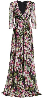 Badgley Mischka Floral Silk Georgette Wrap Dress