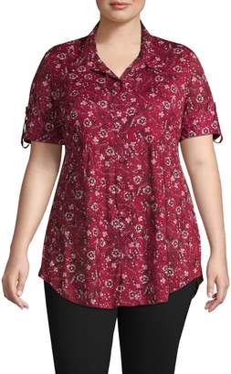 Style&Co. Style & Co. Plus Floral Mandarin Collar Shirt
