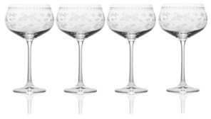 Mikasa Vintage-like Floral Red Wine Glasses, Set of 4