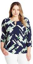 Calvin Klein Women's Plus-Size Three-Quarter Sleeve Top with Hardware