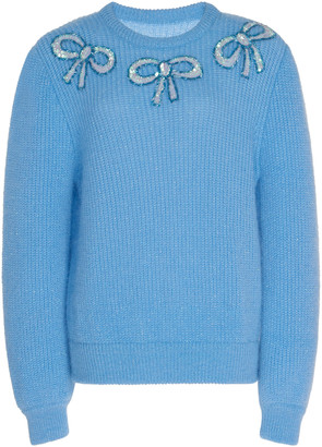 Alessandra Rich Embellished Wool-Blend Sweater