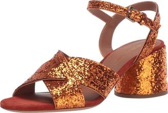 Emporio Armani Women's Metallic Low Block Heel Heeled Sandal