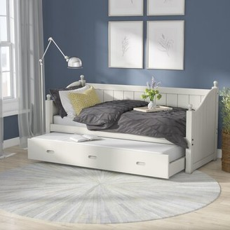 Off-White Ayden Twin Daybed with Trundle Darby Home Co Color