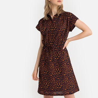La Redoute Collections Cotton Leopard Print Tie-Waist Shirt Dress
